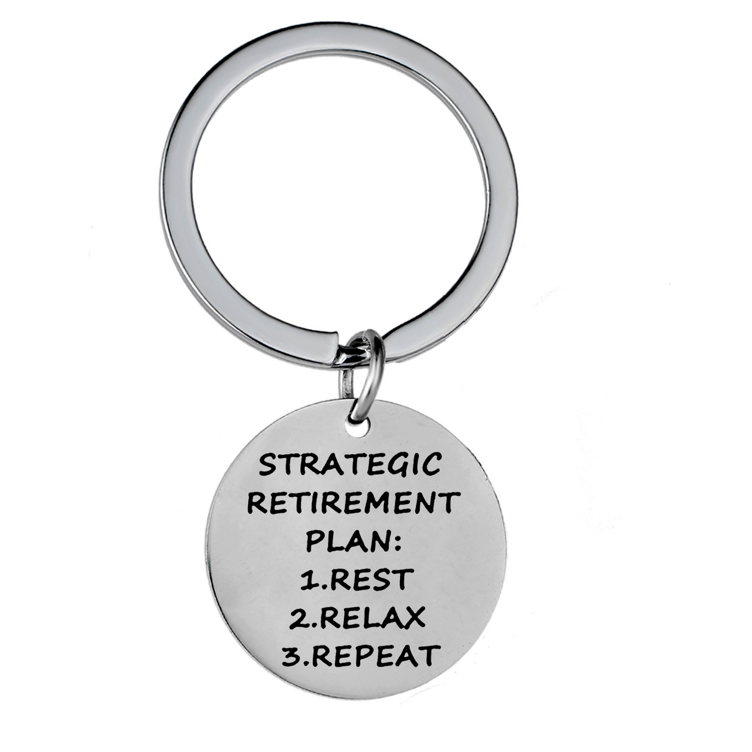 12PC Strategic Retirement Plan Keychain Stainless Steel Charm Pendant Keyring Grandpa Grandma Retirement Gifts Key Ring Jewelry image