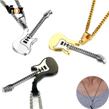 "Vnox Fashion Guitar Pendants for Men Stainless Steel Music Lover Necklaces Black Gold Tone Male Jewelry with 24"" Curb Chain(China)"
