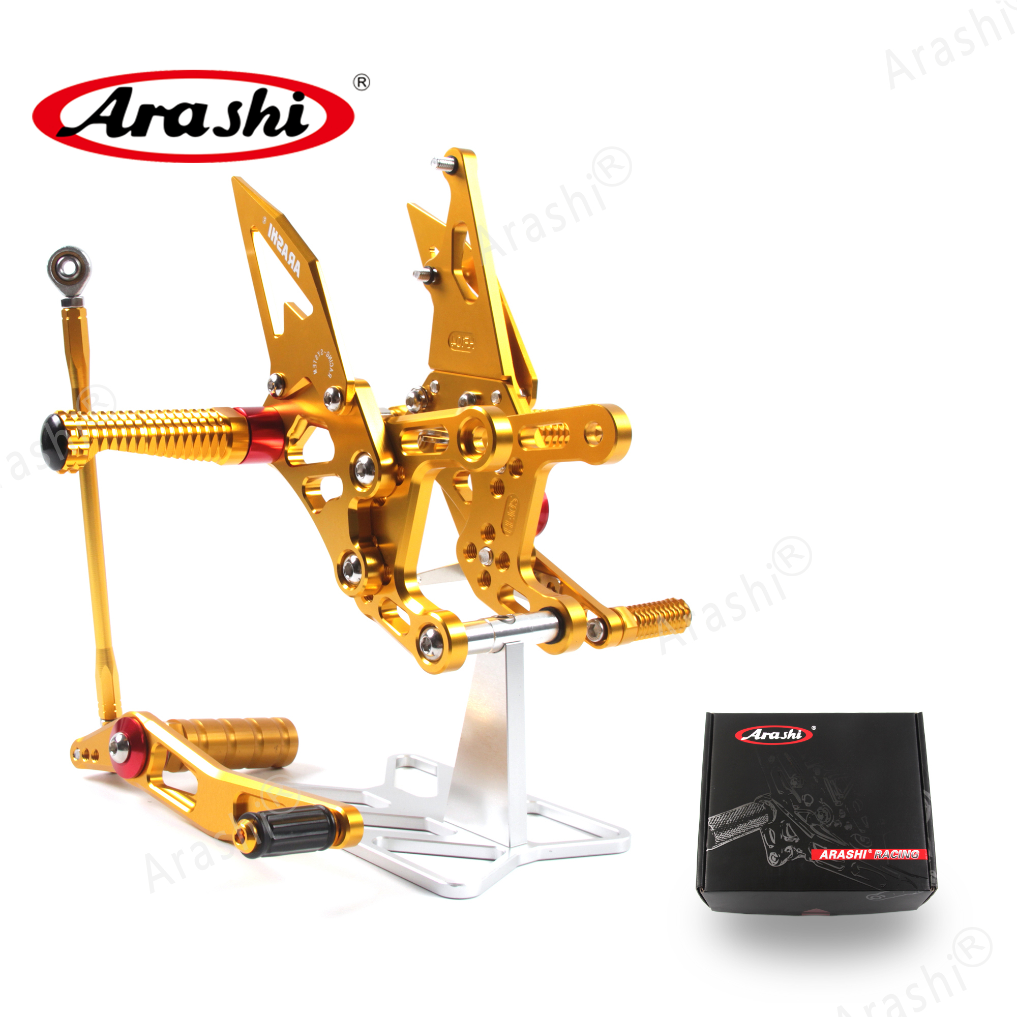 Arashi CNC Adjustable Footrests For YAMAHA YZF R1 2009 2010 2011 2012 2014 YZF-R1 Foot Pegs Rider Rearset Footrest Foot Rest