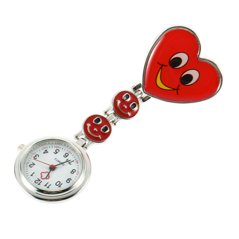 Heart Shape Fob Pocket Watch Pink Red Pin Brooch Cute Smile Face Nurse Quartz Clip-on For Nurse Salesgirl Waitress Teacher