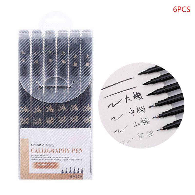4/6/9pcs Chinese Japanese Calligraphy Brush Pen Markers Art Writing Painting Office School Supplies Stationery  X6HB