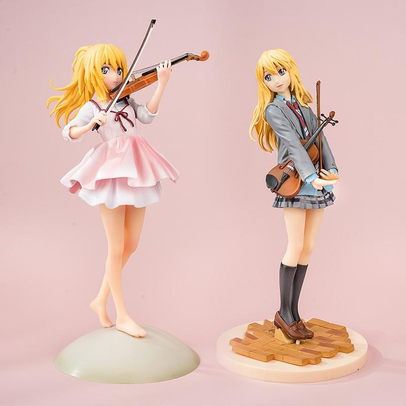Miyazono Kaori Anime Figurine jouets votre mensonge en avril fille jouant violon robe rose PVC Statue modèle Figurine 2 visages 23cm
