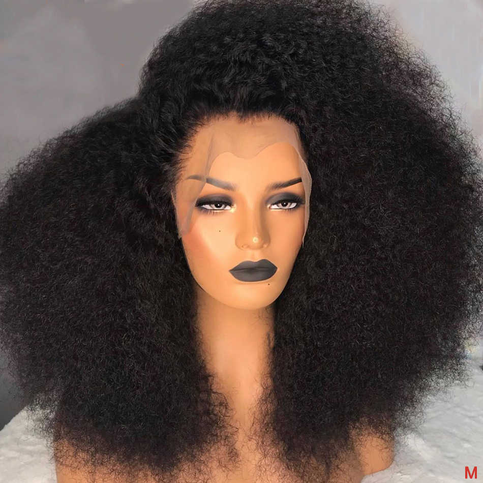 Afro Mongolian Kinky Curly Human Hair Wigs 13x4 Lace Front Wig Sunlight Natural Pre Plucked Remy Hair Lace Wigs For Black Women