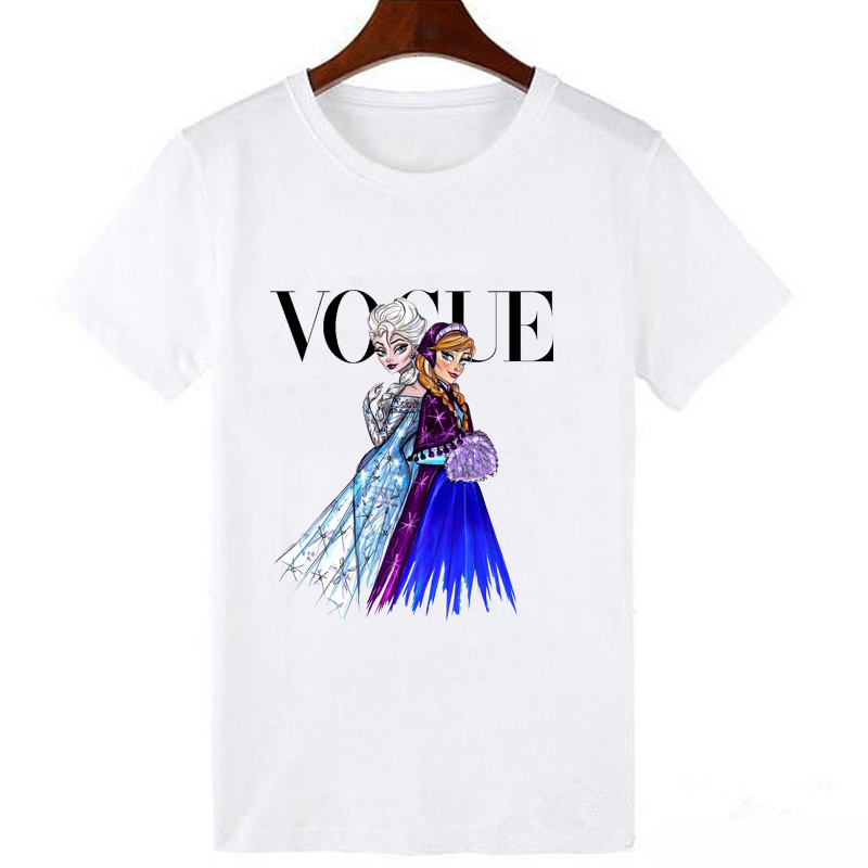 LUCKYROLL Elsa Anna Princess And Queen T Shirt Women Magic Vogue Tshirt Casual Short Sleeve Cartoon Fashion Tee Cartoon T-shirt