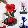 В форме сердца свежая консервированная Роза Красота и с рисунком из мультфильма «Красавица и Чудовище» вечная роза в Стекло купол для свадь...