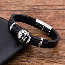 лучшая цена 2019 Fashion Charm Stainless Steel Magnet Punk Rock Skull Black Leather Bracelet Men Jewelry Luxury Wholesale Accessories