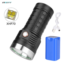 Flashlight Cree xhp70 led 18650 battery 8000mAh USB Charging Shockproof Self Defense Powerful Outdoor Car led torch