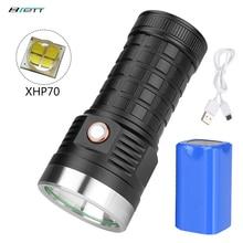 Flashlight Cree xhp70 led 18650 battery 8000mAh USB Charging Shockproof Self Defense Powerful Outdoor Car led torch