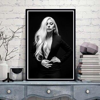 Póster impreso Lady Gaga Poster Pop Star música cantante álbum Rap lienzo pintura al óleo cuadros artísticos de pared para sala de estar decoración del hogar