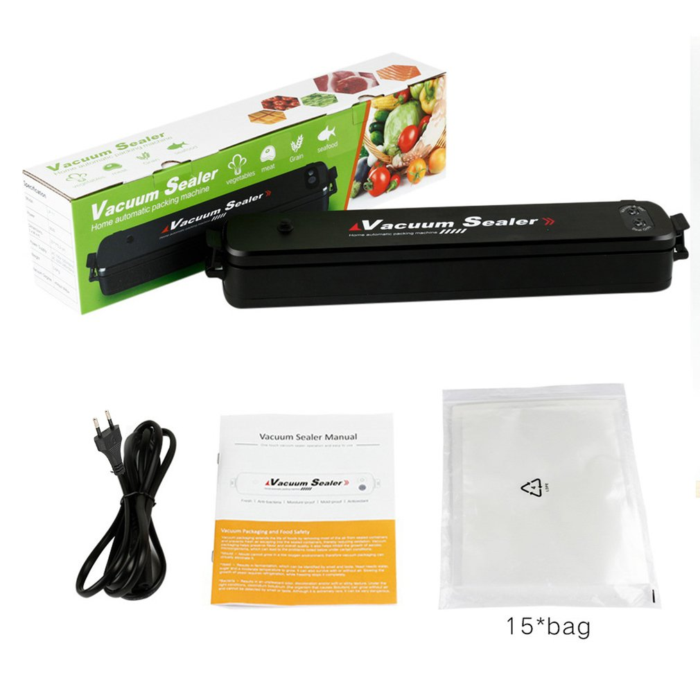 LP-11 220V/110V Vacuum Sealing Machine Home Best Vacuum Sealer Fresh Packaging Machine Food Saver Vacuum Packer+15Pcs Bags