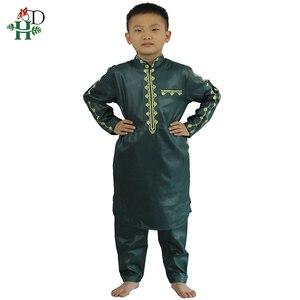 Image 4 - H & D Afrikaanse Kleding Voor Kinderen Jongens Borduren Dashiki Bazin Kind Overhemd Broek Pak Gewaden Ensemble Mode Kinderen Jalabiya z2804