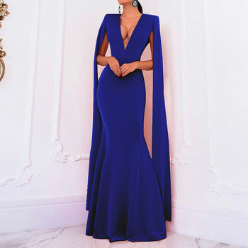 Sexy Deep V Neck Backless Evening Party Dress Long Mermaid Cape Long Sleeve Women Dress Luxury Pink Blue Black Slim Maxi Dress contrast color v neck backless maxi dress