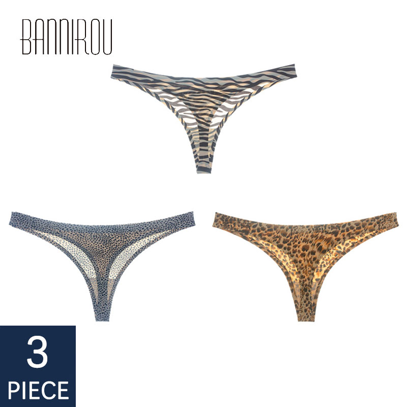 3 Pieces Woman Underwear Sexy Seamless Sports Panty Female T-back Solid Soft G-string Thong For Woman Underwear Ice Silk New
