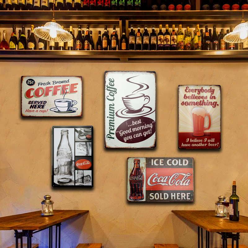 Retro Vintage Targa in metallo per la Decorazione Della Parete di Ghiaccio Freddo Cola Saluti Segni In Metallo Piatto di Casa Garage Camera Cucina Agriturismo Decorazione