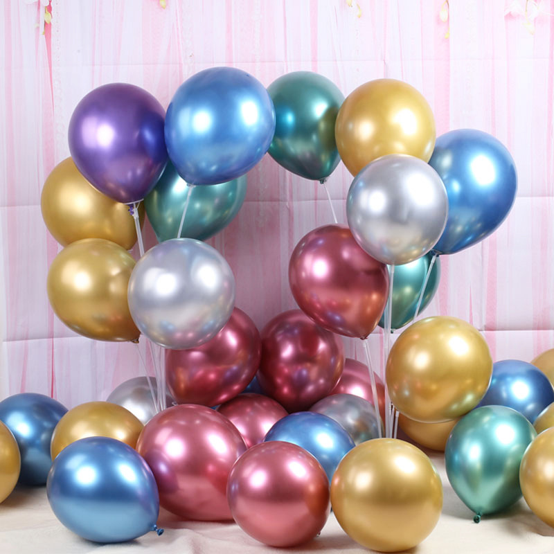 "12/"" 10 20 CHROME BALLOONS METALLIC LATEX PEARL Helium Baloon Birthday Party"