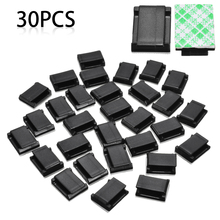 30Pcs Wire Tie Cable Clamp Clips Holder Self Adhesive Plastic Cable Holder Rectangle Mount Clamp Tie Cord Holder 20pcs pack self adhesive wire organizer line cable clip buckle plastic clips ties fixer fastener holder