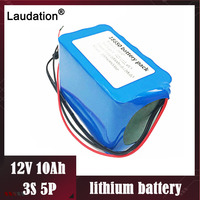 High Capacity 12V 10ah/10000mAh li ion battery Protection bms bms 3S5P 12.6V 18650 Lithium Rechargeable Batteria free shipping