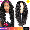 Brazilian Loose deep Wave Lace Front Human Hair Wigs For Black Women Pre Plucked 360 Lace Frontal Wig 4x4 Remy Lace Closure Wig