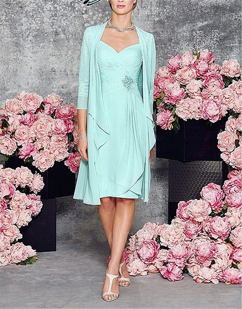 Two Piece  With Jacket Length 2020 New Mother Of The Bride Dresses 3/4 Sleeves Chiffon Lace Party Groom Mother Dress For Wedding