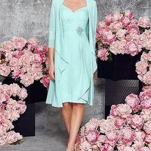Dos piezas con la longitud de la chaqueta 2020 nueva madre de la novia vestidos 3/4 mangas gasa encaje fiesta novio madre vestido para la boda