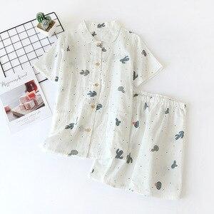 Image 5 - Calções de verão pijamas femininos conjuntos 100% gaze algodão japonês bonito dos desenhos animados simples manga curta shorts sleepwear