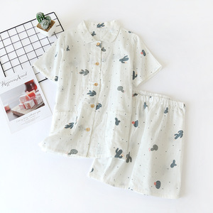 Image 5 - Yaz şort pijama kadın pijama setleri % 100% gazlı bez pamuk japon sevimli karikatür basit kısa kollu şort pijama kadın