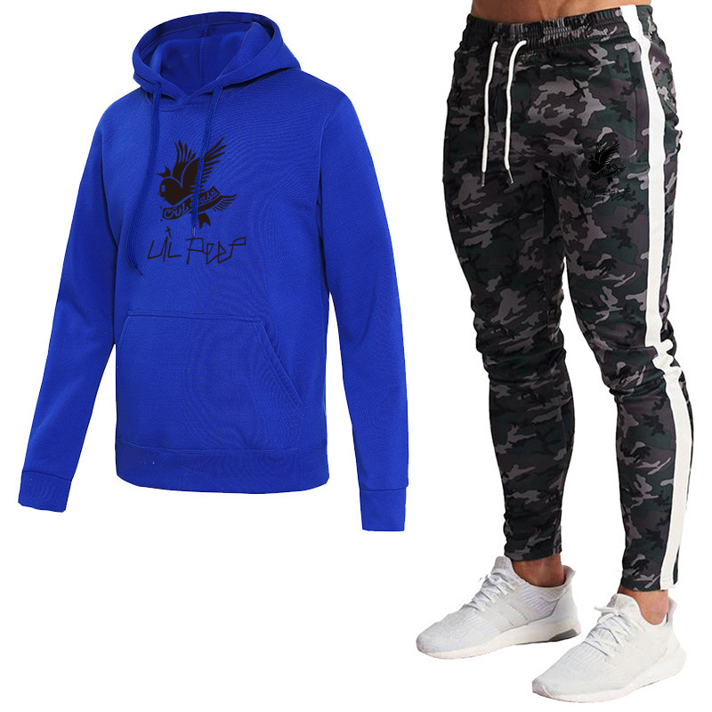 Brand Men And Women Printed Fleece Hoodie + Trousers Set Autumn And Winter Hooded Pullover Leisure Sports Suit Men's