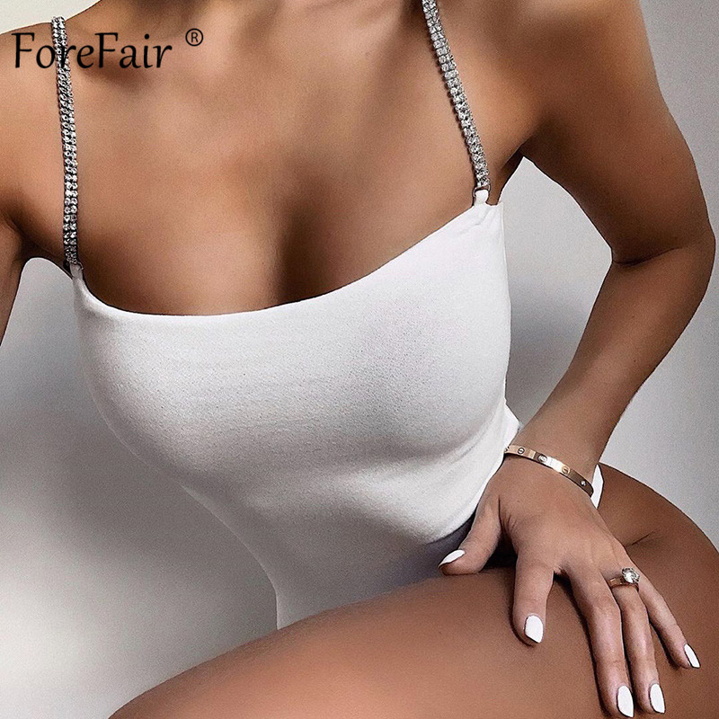 Forefair Diamond Straps Bodysuit Summer Solid Bodycon Sleeveless Party Club Sexy 2020 Black White Women Bodysuit