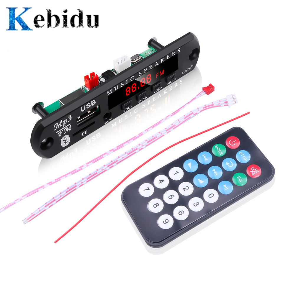 Kebidu Mini Auto Bluetooth 5,0 <font><b>MP3</b></font> Decoder Board Modul SD/TF Karte USB FM Radio Musik DC 5V 12V <font><b>MP3</b></font> <font><b>Player</b></font> Für Auto DIY Kit image