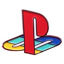 Logotipo ps1 esmalte pino retro eletrônico game console broche do jogador nostalgia acessório