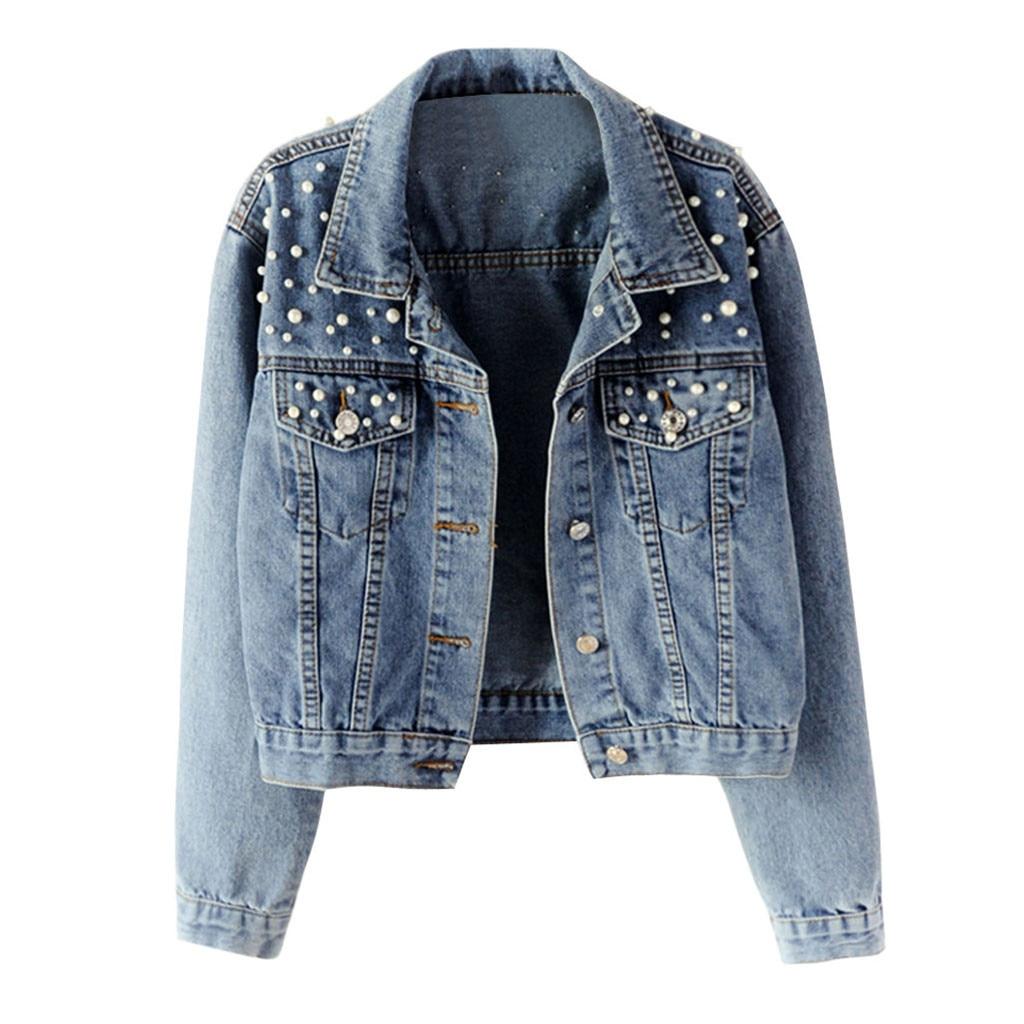 JAYCOSIN New Womens Autumn Blue Long Sleeve Denim Jacket Pocket Beading Casual Short Outwear Coat Ladies Girls 731