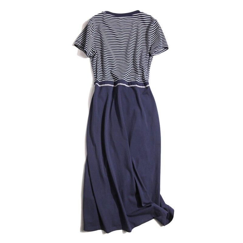 High-End Japan Fashion Stripes Joint New Style Dress Women's 2019 WOMEN'S Short Sleeve Shirt Spring Dress
