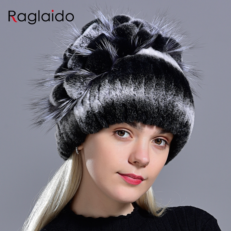Winter Fur Hat Natural Rex Rabbit Women's Warm Hats Novelty Knitted Stylish Fashionable Genuine Fox Floral Ladies Female Fur Cap