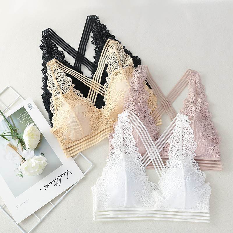 Women Wide Cross Straps Bra Lace Hollow Floral One-Piece Underwear Bralette Removable Pad Wireless Intimates