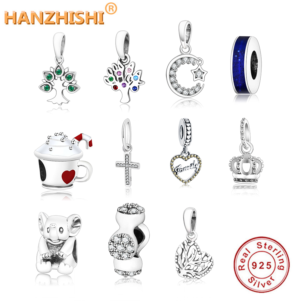 2018 Winter Collection 925 Sterling Silver Cross Tree Crown Charms Beads Fit Original Pandora Charm Bracelet DIY Jewelry Making(China)