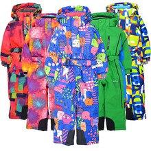 Children's winter outdoor bodysuit ski suit windproof snow and water plus velvet thickening snow town ski equipment bodysuit