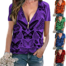 Fashion Summer T-Shirt Women Zipper Sexy V-Neck Butterfly Print Pullover Short Sleeve Casual Slim Ladies Tops Clothes Shirt