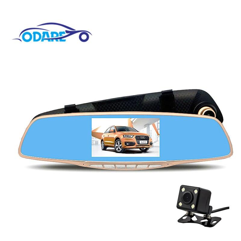 Odare voiture DVR Full HD 1080P g-sensor enregistreur vidéo caméra presque Vision double objectif avec caméra de recul Auto registrateur Dash Cam