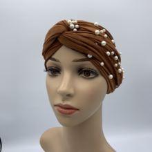 Модные мусульманские женские замшевые тюрбан крученые бархатные
