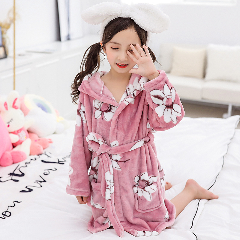 Children Double-Sided Flannel Pajamas 2019 Autumn And Winter BOY'S Girls Thick Tracksuit Big Boy Robe Bathrobe