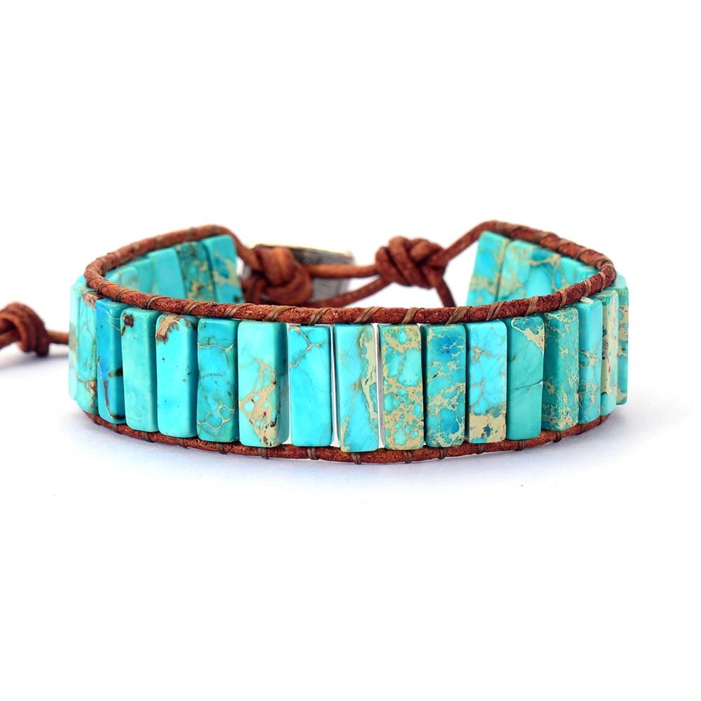 Bohemian Bracelet Tube Shape Natural Stone Single Leather Rope Wrap Bracelet Women Beaded Couples Bracelet Dropshipping(China)