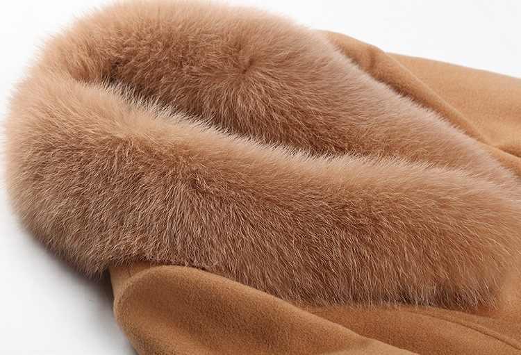 Garemay feminino casaco de gola de pele outerwear roupas de inverno moda grosso quente de lã mistura feminino elegante casaco de lã para mulher