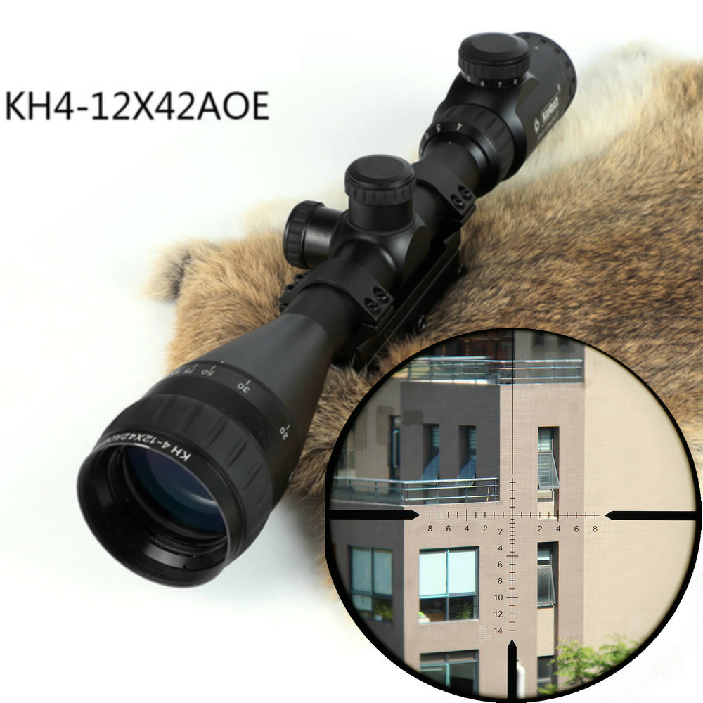 KANDAR KH 4-12x42 AOE Hunting Riflescope Red Illuminated Glass Etched Reticle Sniper Optic Rifle Scope Sight With Mount Ring