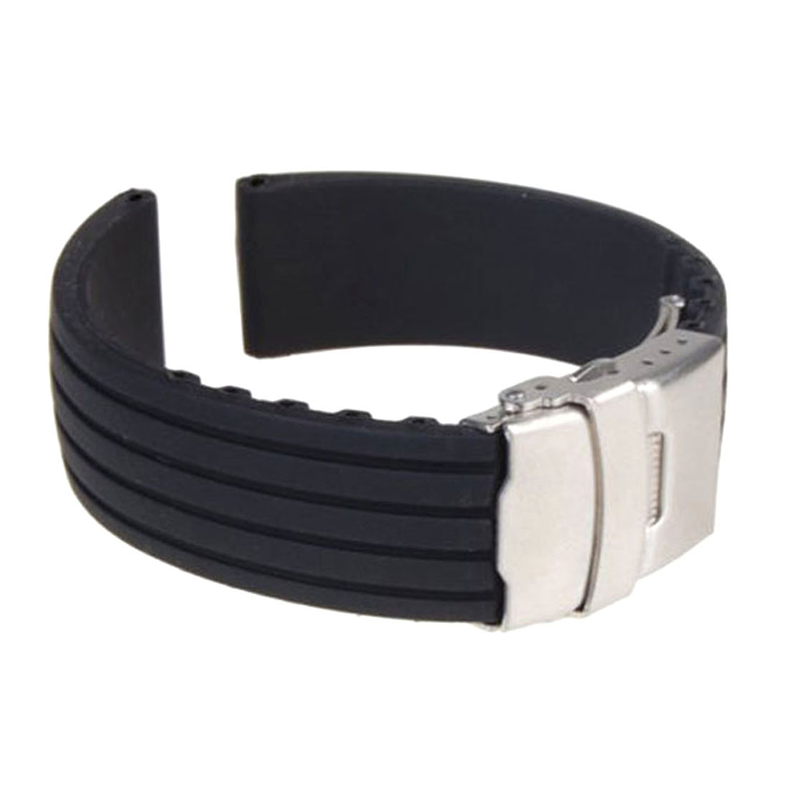 18mm 20mm 22mm 24mm Universal Watch Strap Silicone Rubber Link Bracelet Wrist Strap Light Tire Pattern Soft Silicone Strap