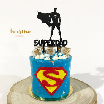 цена Cake Decoration Super Dad Happy Birthday Father's Day for Dad Black Acrylic Cake Decorative Topper Father`s Day Gift Supplies онлайн в 2017 году