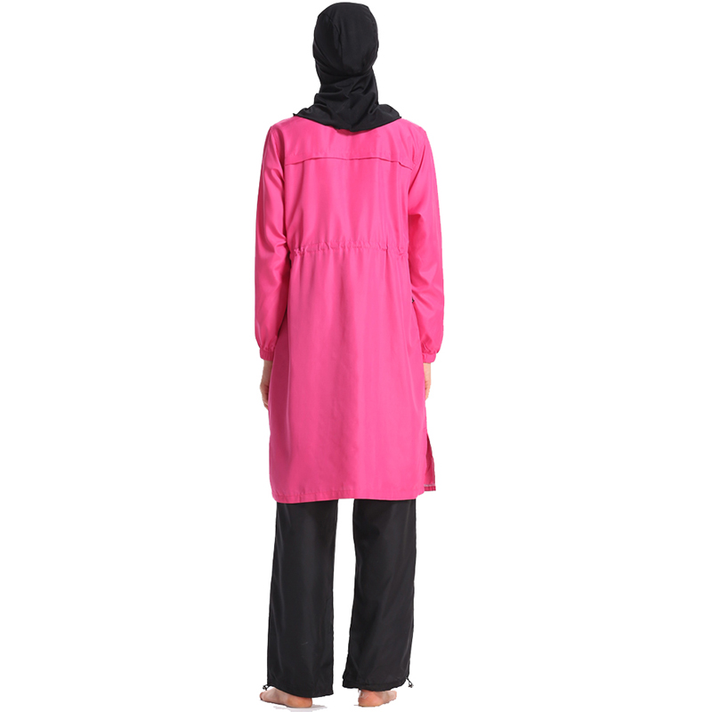 Image 3 - HAOFAN New 2019 summer stitching style Burkinis muslim swimwear  hijab Conservative Muslimah Swimsuit Beach Swimming Islamic 3XLMuslim  Swimwear
