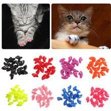 20PC suave tapones para uñas de gato colorido adorable garra de gato del silicio de calidad alta de uñas con Protector libre pegamento adhesivo y Applictor XS-L