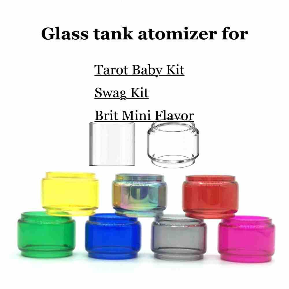4/1pc Bulb Pyrex Glass Tube For Tarot Baby/Vaporesso Swag Kit Brit Mini Flavor Atomizer Tank Vape Bulb Glass Tube 8 Colors