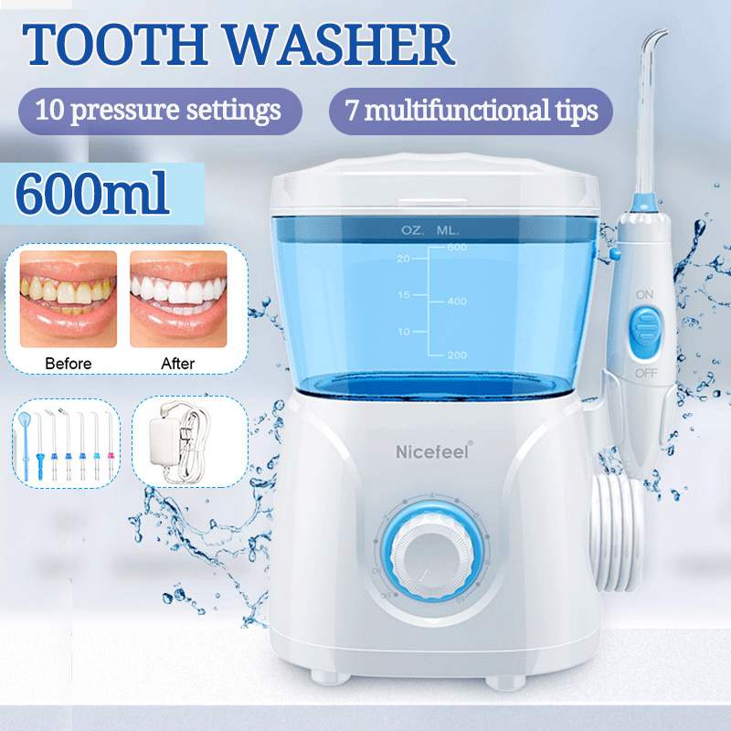 Nicefeel Oral Irrigator 7pcs Tips 600ml Water Flosser Irrigator Dental Hygiene For Teeth Cleaning Water Pick Irrigators Flossing