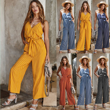 women sexy spaghetti strap sleeveless wide leg jumpsuit summer elegant solid casual rompers pockets playsuits loose overalls Women's Stripe V-neck Elegant Sexy Jumpsuits Summer Casual Pocket Lace Up Overalls Jumpsuit Wide Leg Spaghetti Strap Rompers